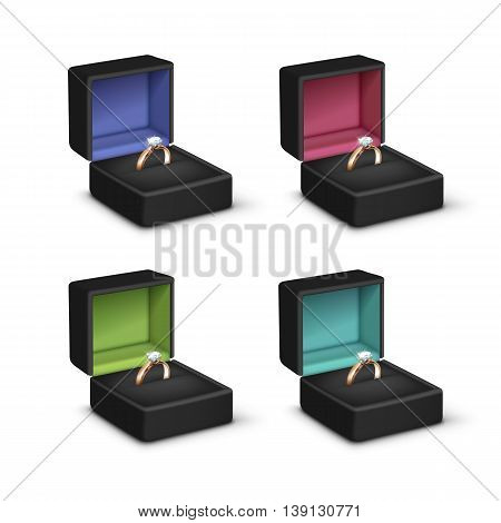 Vector Set of Gold Engagement Rings with White Shiny Clear Diamonds in Black Colored Jewelry boxes Close up Isolated on White Background