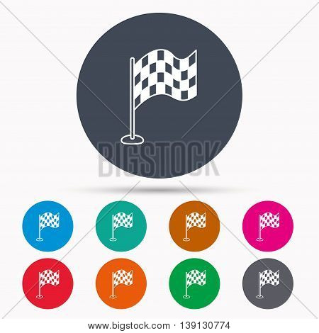 Racing flag icon. Finishing symbol. Icons in colour circle buttons. Vector