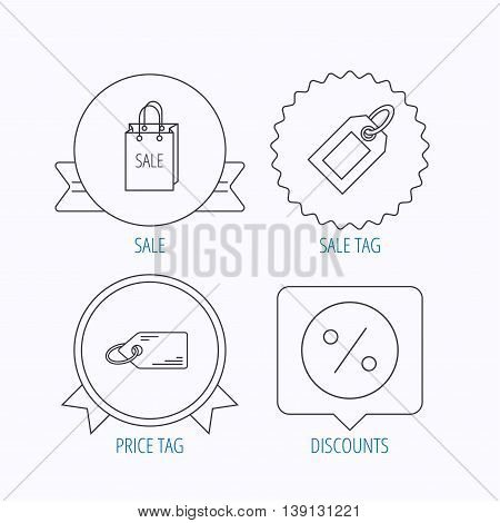 Price tag, sale bag and coupon icons. Discounts linear sign. Award medal, star label and speech bubble designs. Vector