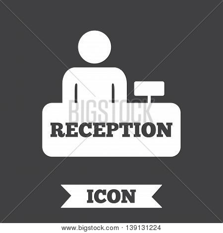 Reception sign icon. Hotel registration table with administrator symbol. Graphic design element. Flat reception symbol on dark background. Vector