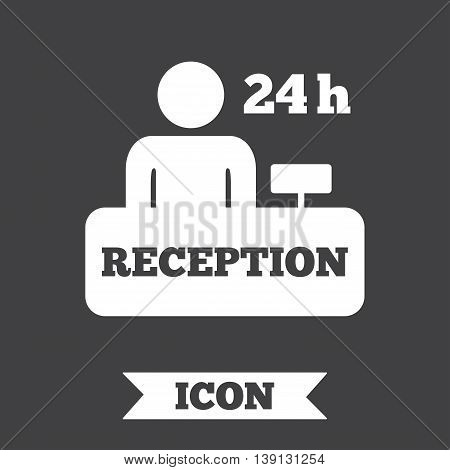 Reception sign icon. 24 hours Hotel registration table with administrator symbol. Graphic design element. Flat reception symbol on dark background. Vector