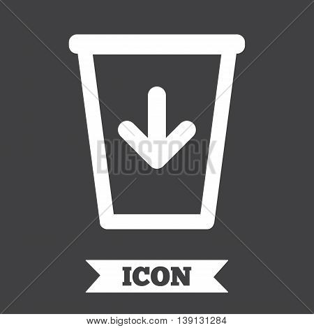 Send to the trash icon. Recycle bin sign. Graphic design element. Flat recycle bin symbol on dark background. Vector