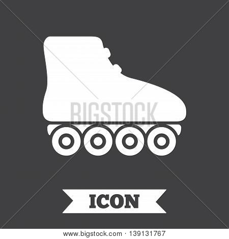 Roller skates sign icon. Rollerblades symbol. Graphic design element. Flat roller skates symbol on dark background. Vector