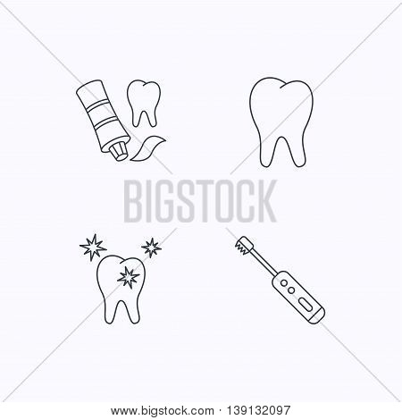 Healthy teeth, tooth and toothpaste icons. Electric toothbrush linear sign. Flat linear icons on white background. Vector