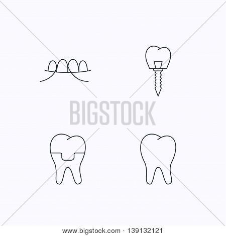 Dental implant, floss and tooth icons. Dental crown linear sign. Flat linear icons on white background. Vector