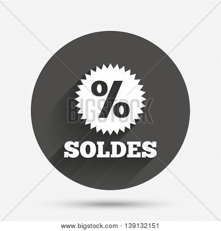 Soldes - Sale in French sign icon. Star with percentage symbol. Circle flat button with shadow. Vector