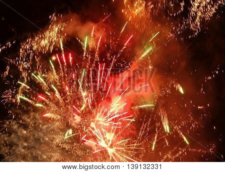 Celebratory Fireworks And Firecrackers Light Up The Sky