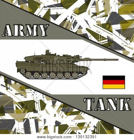 Military tank german army. Armor vehicles illustration
