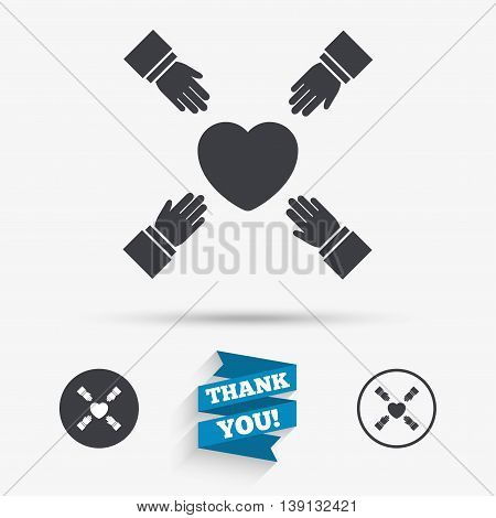 Hands reach for heart sign icon. Save life symbol. Flat icons. Buttons with icons. Thank you ribbon. Vector