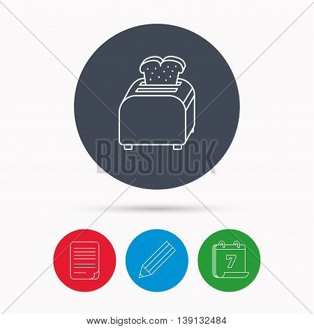 Toaster icon. Sandwich machine sign. Calendar, pencil or edit and document file signs. Vector