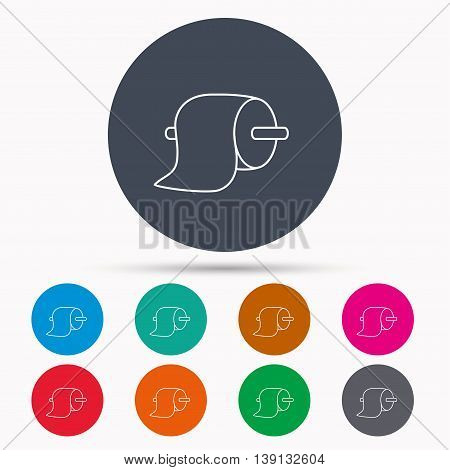 Toilet paper icon. WC hygiene sign. Icons in colour circle buttons. Vector