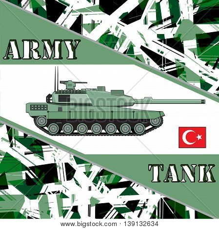 Military tank turkey army. Armor vehicles illustration