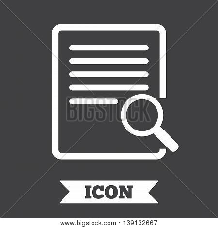 Search in file sign icon. Find in document symbol. Graphic design element. Flat search in document symbol on dark background. Vector