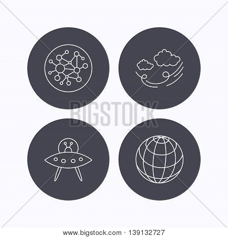 Ufo, planet and global network icons. Wind linear sign. Flat icons in circle buttons on white background. Vector