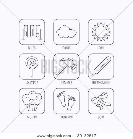 Footprint, lab bulbs and thermometer icons. Muffin, bow and lolly pop linear signs. Cloud and sun flat line icons. Flat linear icons in squares on white background. Vector