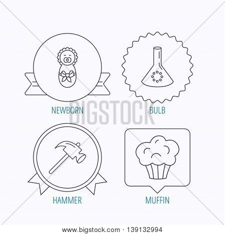Newborn, muffin and lab bulb icons. Hammer linear sign. Award medal, star label and speech bubble designs. Vector