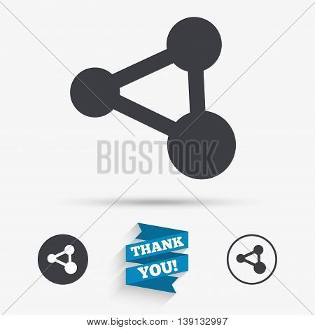 Share sign icon. Link technology symbol. Flat icons. Buttons with icons. Thank you ribbon. Vector