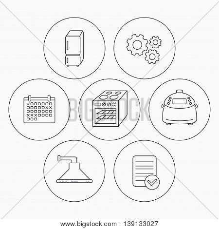 Refrigerator, multicooker and oven icons. Kitchen hood linear sign. Check file, calendar and cogwheel icons. Vector