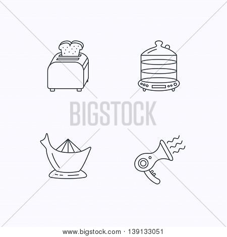 Steamer, hairdryer and toaster icons. Juicer linear signs. Flat linear icons on white background. Vector