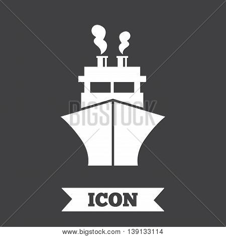 Ship or boat sign icon. Shipping delivery symbol. Graphic design element. Flat shipping symbol on dark background. Vector