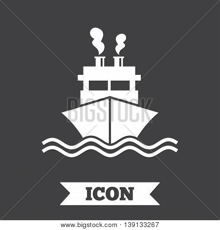 Ship or boat sign icon. Shipping delivery symbol. Smoke from chimneys or pipes. Graphic design element. Flat shipment symbol on dark background. Vector