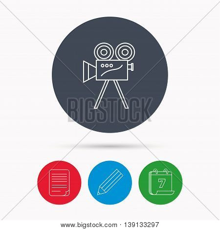 Video camera with reel icon. Retro cinema sign. Calendar, pencil or edit and document file signs. Vector