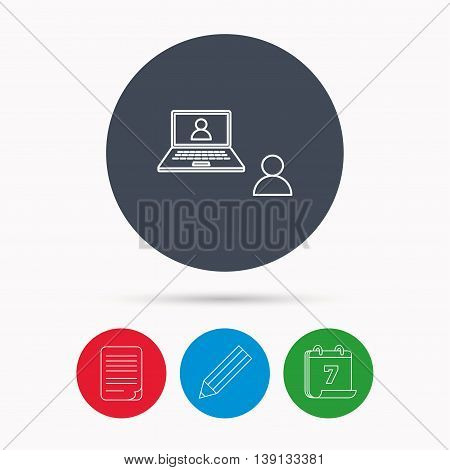Video chat icon. Webcam chatting sign. Web conference symbol. Calendar, pencil or edit and document file signs. Vector