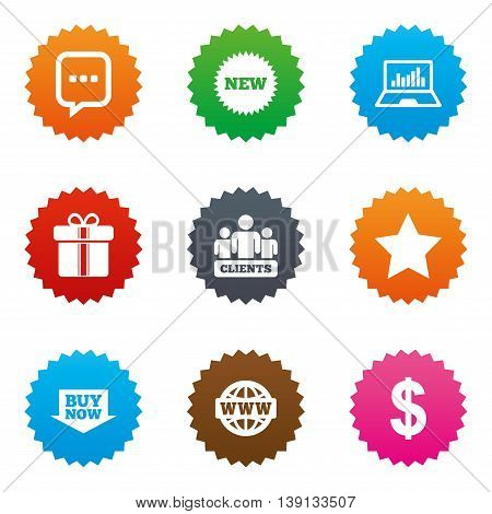 Online shopping, e-commerce and business icons. Gift box, chat message and star signs. Chart, dollar and clients symbols. Stars label button with flat icons. Vector