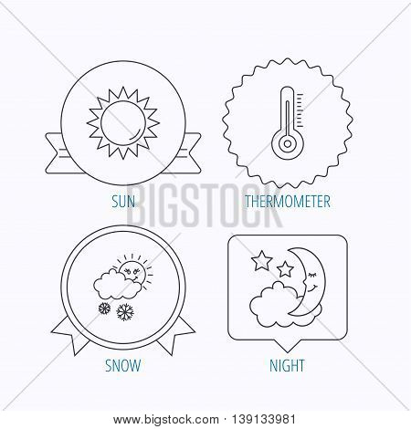 Thermometer, sun and snow icons. Moon night linear sign. Award medal, star label and speech bubble designs. Vector