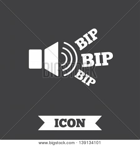 Speaker volume icon. Sound with BIP symbol. Loud signal. Graphic design element. Flat signal BIP symbol on dark background. Vector