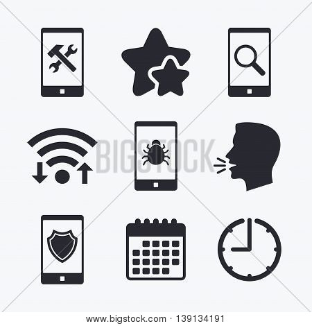 Smartphone icons. Shield protection, repair, software bug signs. Search in phone. Hammer with wrench service symbol. Wifi internet, favorite stars, calendar and clock. Talking head. Vector