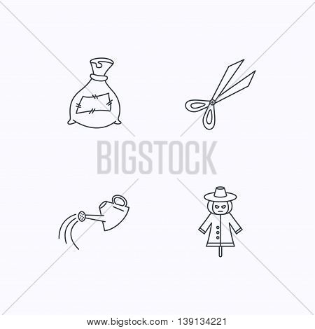 Scissors, watering can and watering can icons. Bag of fertilizer linear sign. Flat linear icons on white background. Vector