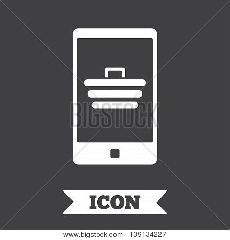 Smartphone with shopping cart sign icon. Online buying symbol. Graphic design element. Flat mobile payments symbol on dark background. Vector