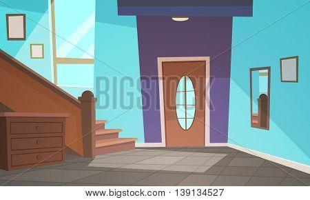 Cartoon illustration of retro style house hallway.