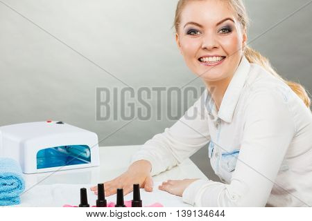 Smiling Woman In Spa Wellness Salon.