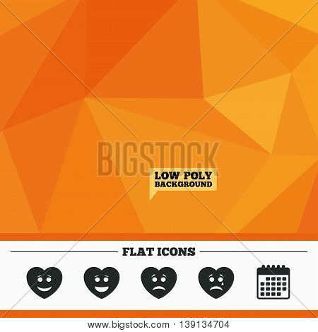 Triangular low poly orange background. Heart smile face icons. Happy, sad, cry signs. Happy smiley chat symbol. Sadness depression and crying signs. Calendar flat icon. Vector
