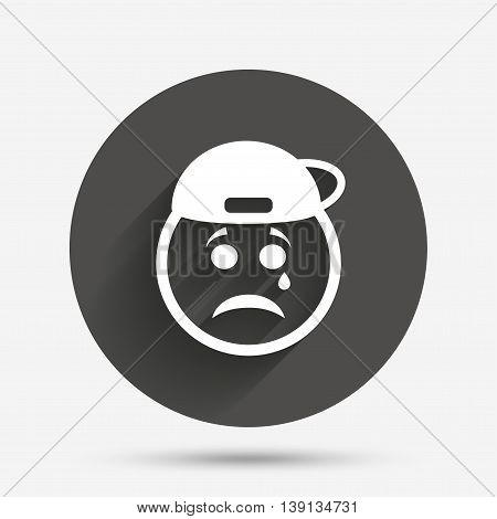 Sad rapper face with tear sign icon. Crying chat symbol. Circle flat button with shadow. Vector