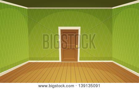 Cartoon illustration of empty, green retro style room.