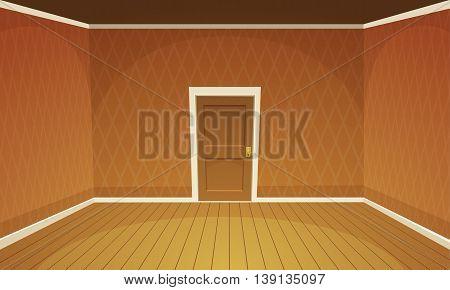 Cartoon illustration of empty, orange retro style room.