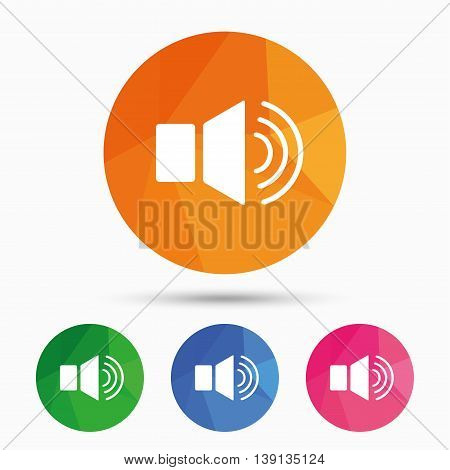 Speaker volume sign icon. Sound symbol. Triangular low poly button with flat icon. Vector