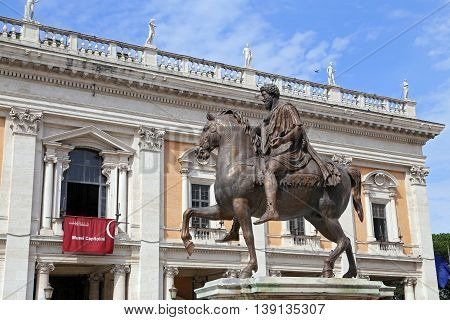 ROME ITALY - JUNE 11 2016: Marcus Aurelius on Capitol Hill in Rome
