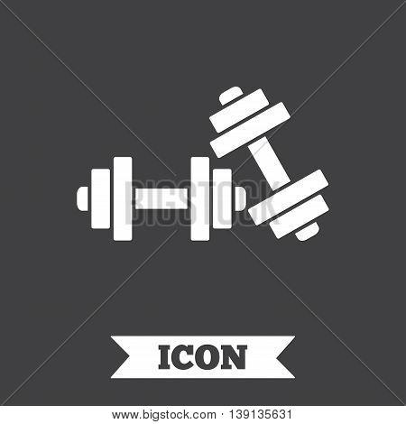 Dumbbells sign icon. Fitness sport symbol. Gym workout equipment. Graphic design element. Flat fitness sport symbol on dark background. Vector