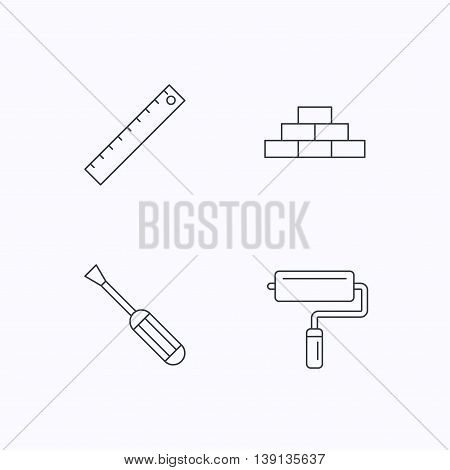 Screwdriver, ruler and paint roller icons. Brickwork linear sign. Flat linear icons on white background. Vector