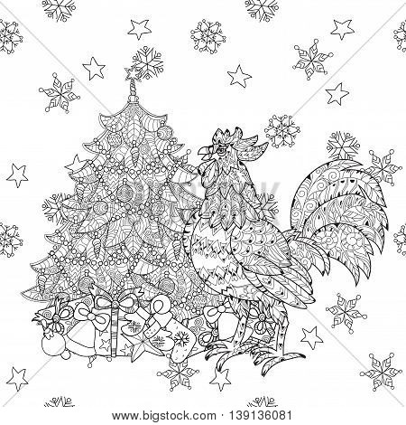 Rooster, Cock and fir tree. Symbol of Chinese new year zodiac 2017. Hand drawn doodle zen art.Adult anti stress coloring book or tattoo