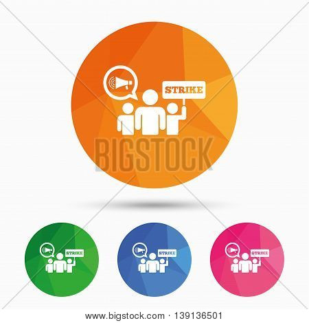 Strike sign icon. Group of people symbol. Industrial action. Holding protest banner and megaphone. Triangular low poly button with flat icon. Vector