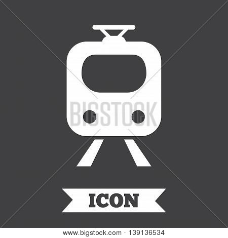 Subway sign icon. Train, underground symbol. Graphic design element. Flat subway symbol on dark background. Vector