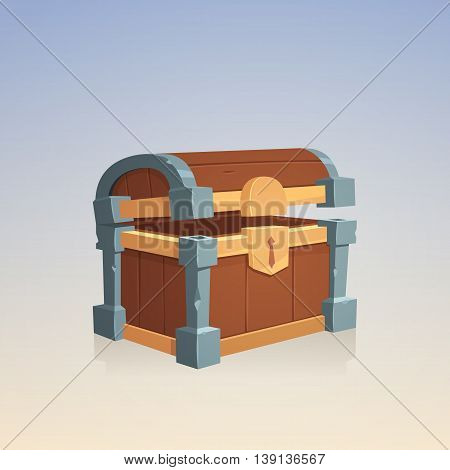 Cartoon illustration of empty wooden chest with corners of stone.