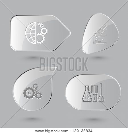 4 images: globe and gears, lab microscope, chemical test tubes. Science set. Glass buttons on gray background. Vector icons.