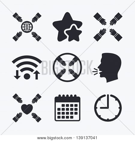 Teamwork icons. Helping Hands with globe and heart symbols. Group of employees working together. Wifi internet, favorite stars, calendar and clock. Talking head. Vector