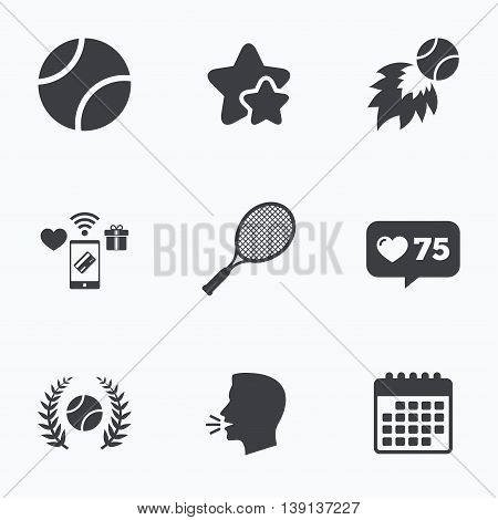 Tennis ball and racket icons. Fast fireball sign. Sport laurel wreath winner award symbol. Flat talking head, calendar icons. Stars, like counter icons. Vector